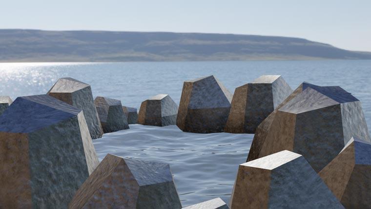 岩で囲われた画像